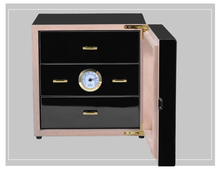 Zwarte kast sigaar humidor hoogwaardige meerdere lak cederhout 3 sigaret opbergdoos case aansteker Met Hygrometer - 3