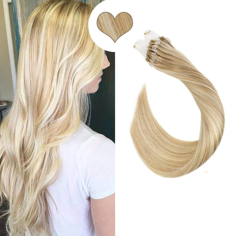 Ugeat Micro Bead Hair Extensions Michine Remy Human Hair Straight 14-24inch 1g/1strand Micro Ring Hair Extensions 50g/50strands