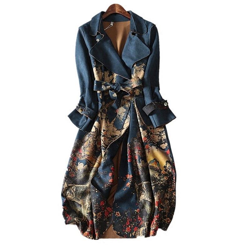 Women Coat Belt Windbreaker Vintage Autumn Elegant Long Winter Plus-Size Fashion New