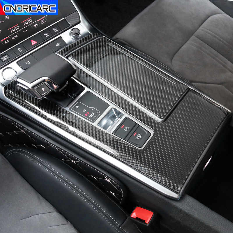 Carbon Fiber Center Console Gear Shift Panel Decoration Cover Trim For Audi A6 C8 A7 2019 LHD Car Styling Interior Accessories image