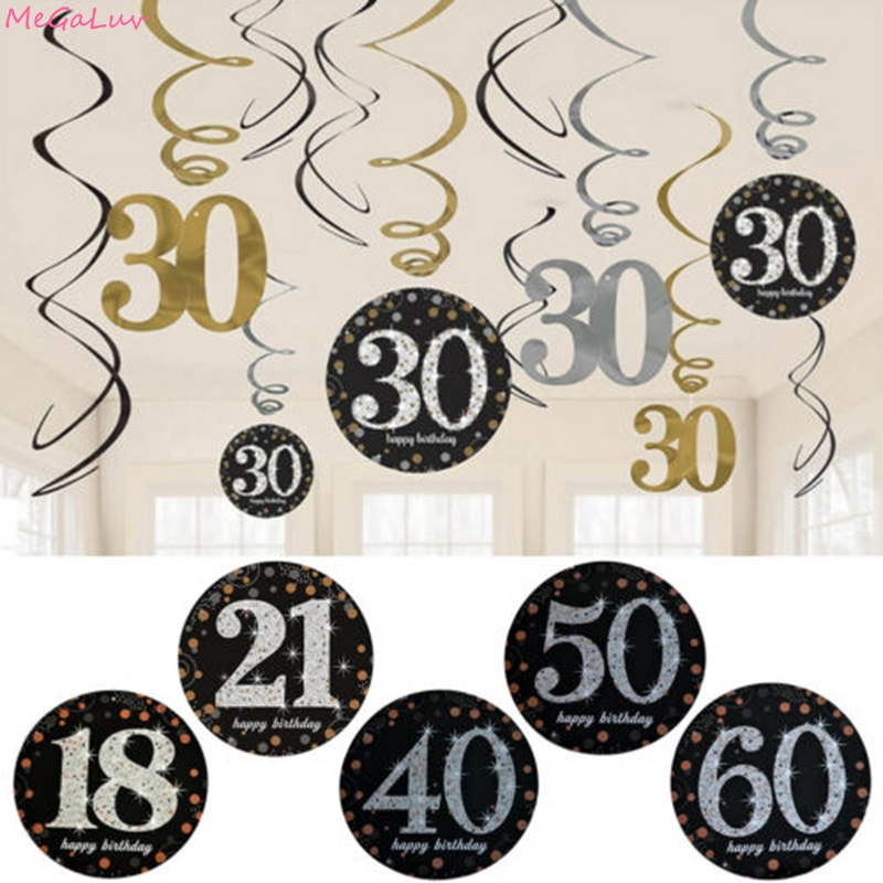 6Pcs <font><b>18</b></font>/21/30/40/50/60 Number PVC Spiral Strap <font><b>Birthday</b></font> Swirl Hanging Ornaments Ceiling <font><b>Decorations</b></font> Anniversary Party Supplies image