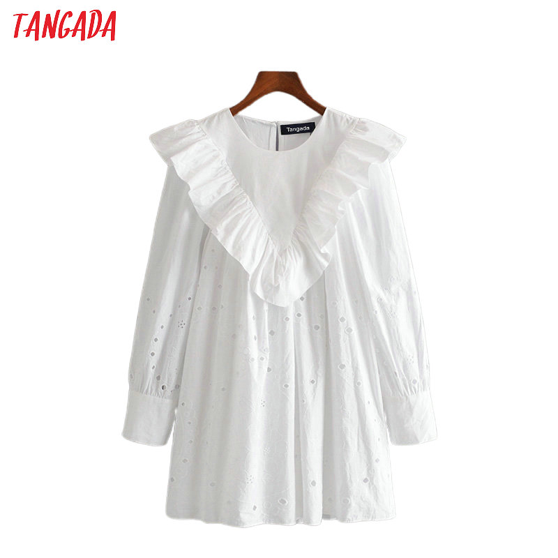 Tangada Women Embroidery Ruffles White Cotton Dress 2020 Long Sleeve Back Button Females Mini Dresses Vestidos 3H417