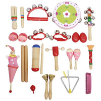 Musical Toys Percussion Instruments Rhythm Band Kit for Small Children with Wooden Tam bourine Guiro Tinkerbells Trumpet SmallHa