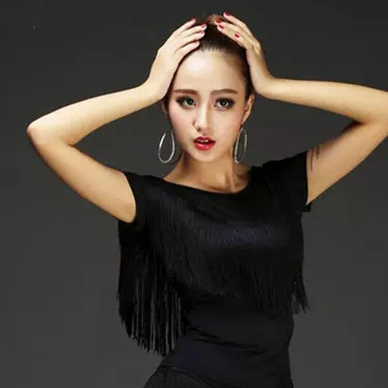 New Adult Latin Dance Tops Female Short Sleeve Lady Dancing Practice Shirt Sexy Women Ballroom Cha Cha Samba Tassel Dancewear