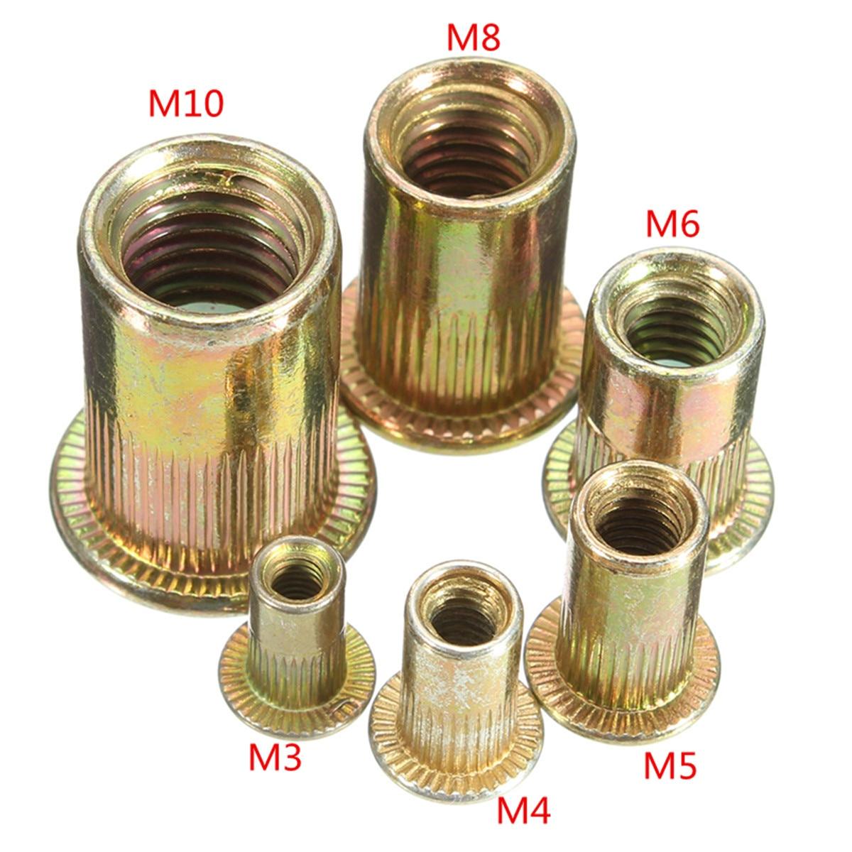 10/20PCS/set M3 M4 M6 M8 M10 Carbon Steel Rivet Nuts Flat Head Rivet Nuts Set Nuts Insert Riveting