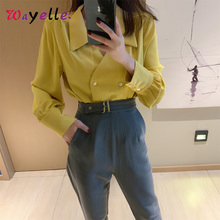 Elegant Women Shirt Simple Fresh Casual Solid Loose Double Breasted Female Blouse Sweet Long Sleeves Chiffon Shirt For Lady casual solid color long sleeves loose fitting shirt for women