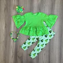 new arrivals baby St. Patricks Day green shamrock outfit girls Spring cotton dress stripe pants clothes match accessories