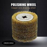 Roda de escova de fio de aço inoxidável 1 peça de madeira aberta pintura polimento deburring roda para striping elétrica máquina|Escova|Ferramenta -