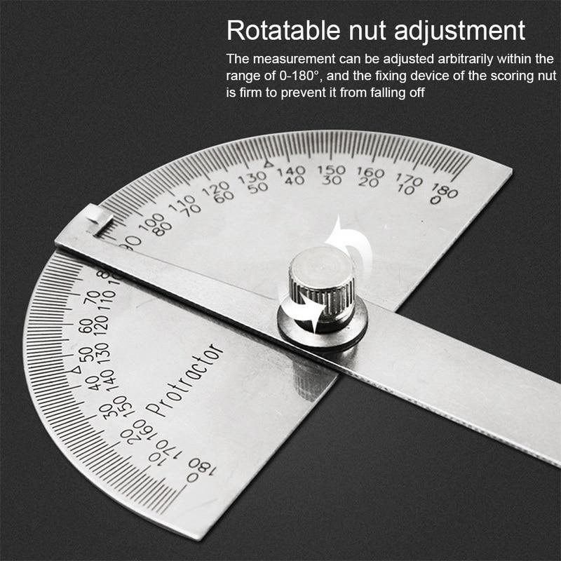 180度調整可能な分度器多機能ステンレス鋼円頂党員角度定規数学測定ツール