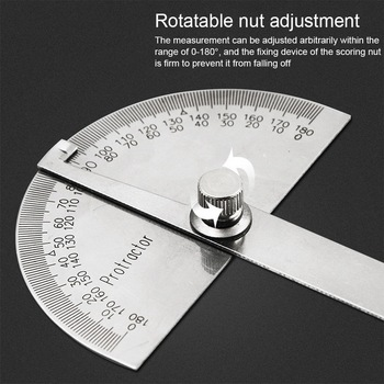 180 Degree Adjustable Protractor multifunction stainless steel roundhead angle ruler mathematics measuring tool the great wall seiko 180 degree angle ruler square level 180 degrees horizontal ruler protractor protractor