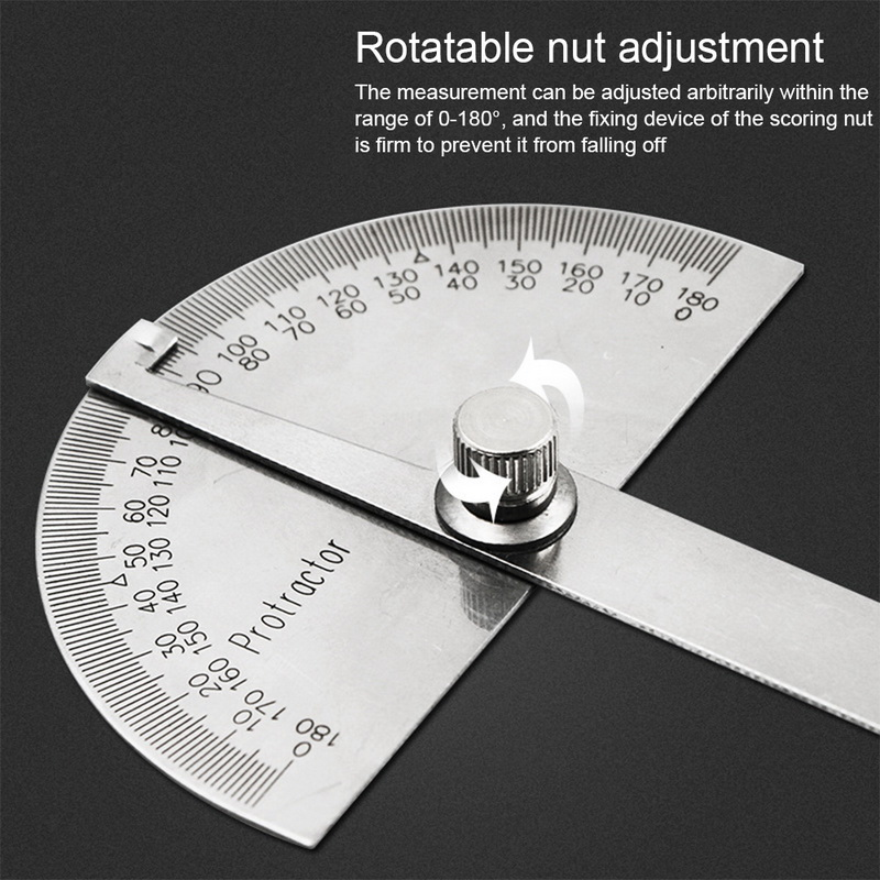 180 Degree Adjustable multifunction stainless steel roundhead ruler mathematics measuring tool