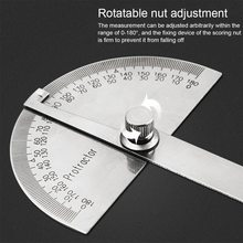 180 graus ajustável multifunções de aço inoxidável roundhead régua ferramenta de medição matemática