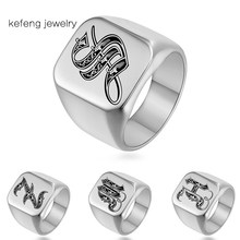 Fast Shipping Hip Hop Stainless Steel Rings Silver Color Ring Men Jewelry Custom Initial Engrave A-Z Mens Rings Anillos(China)