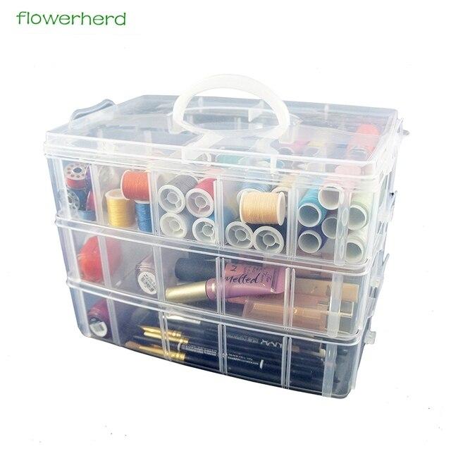 Grand conteneur de rangement avec 30 compartiments ajustables, conteneur pour rangement de fils, accessoires de broderie, bobines et perles