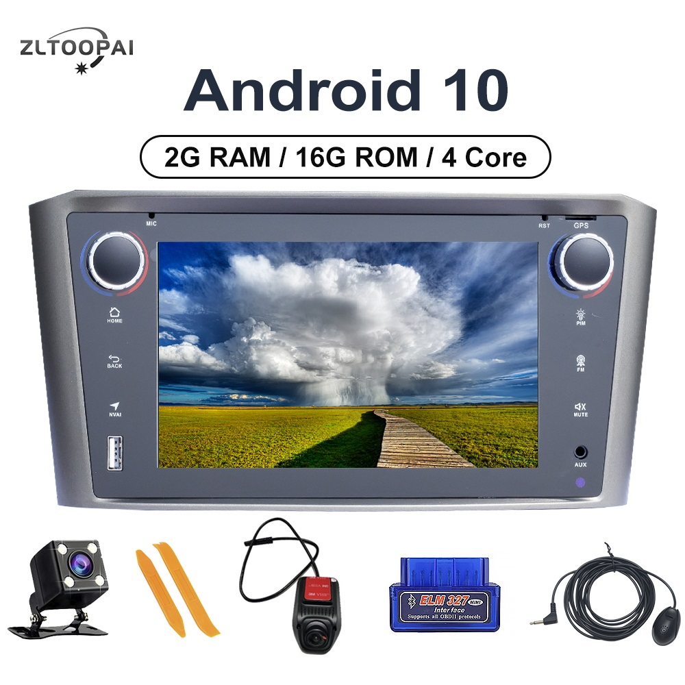 ZLTOOPAI <font><b>Android</b></font> 10 Auto Radio Car Multimedia Player For <font><b>Toyota</b></font> Avensis <font><b>T25</b></font> 2002 2003 2004 2005 2008 GPS Navigation Car Stereo image