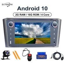 Zltoopai kit multimídia automotivo, android 10, com rádio, player multimídia, para toyota avensis t25 2002 2003 2004 2005, com navegação gps estéreo,