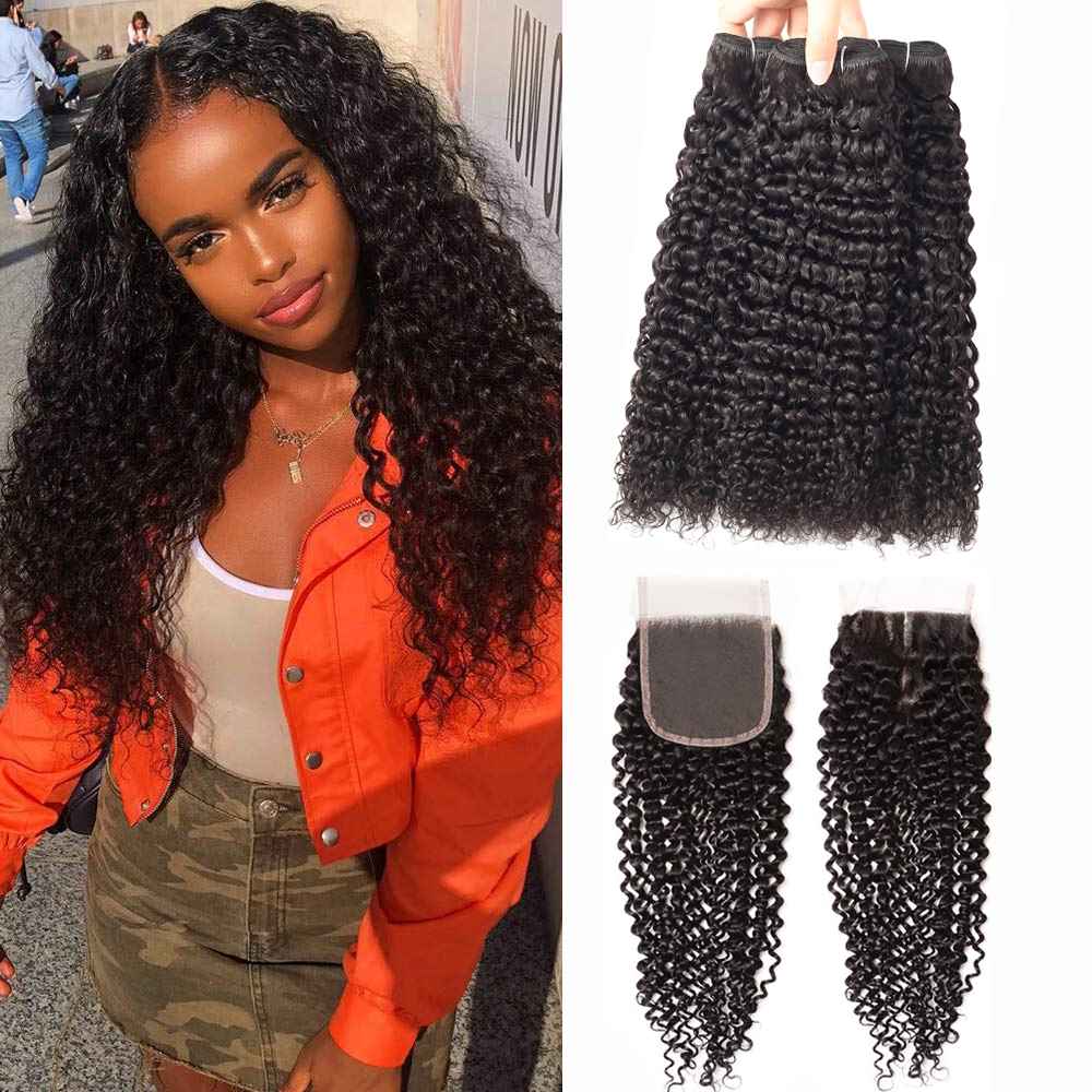Mongolian Kinky Curly Bundles With Closure Brazilian Human Hair Bundles With Closure Brazilian Hair Weave Bundles With Closure