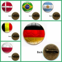 New World Football Game Badge Brooch Holder Bag Clothes Jewelry Flag Glass Bullet Sleutel Men Material Festival Product