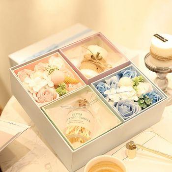 New 1 Set Flower Soap Rose Soap Heart Scented Bath Body Petal Rose Flower Soap Case Wedding Decoration Gift Festival Box