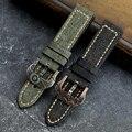 Ремешок ручной работы из холста и кожи для наручных часов 20 22 24 26 мм, совместимый бронзовый браслет с персонализированной бронзовой пряжкой