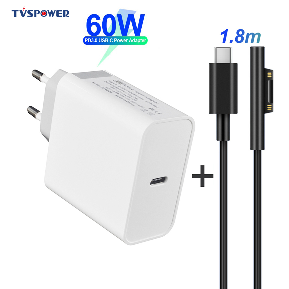 60W 45W PD Charger USB Type C Power Supply Laptop Adapter For Microsoft Surface Pro 6/5/4/3 Go Book Tablet 15V PD Charging Cable