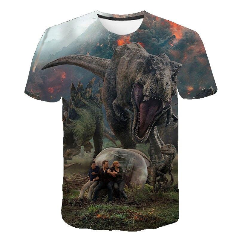 2021 new men and women Jurassic Park 3D printing T-shirt casual fun top Jurassic World T-shirt children boys and girls cool T-sh