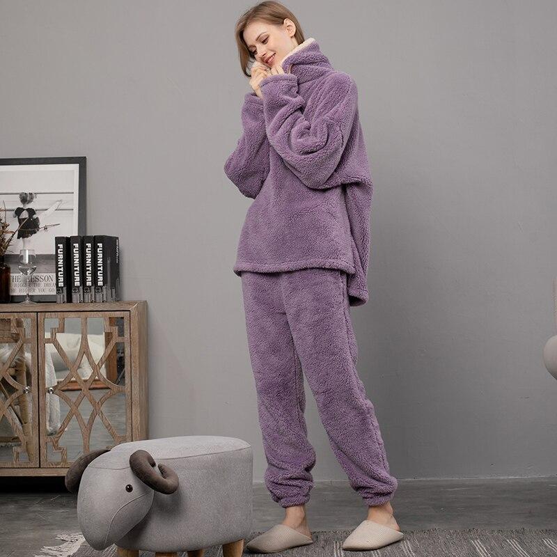 MELIFLE Winter Warme Samt Lila Pyjama Set für Frauen 100% Flanell Atoff Hause Satin Nachtwäsche Mode Plüsch Seide Weichen Nachtwäsche