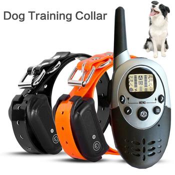 Zdalna obroża do szkolenia psów elektryczny akumulator obroża elektryczna trener Anti-bark Control sprzęt treningowy na zaopatrzenie dla piesków tanie i dobre opinie Obroże szkoleniowe Z tworzywa sztucznego
