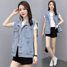 Vintage Denim Vest Women 2020 Spring Korean Single-breasted Sleeveless Jacket Loose Plus Size Jeans Vest Women Waistcoat H283(China)