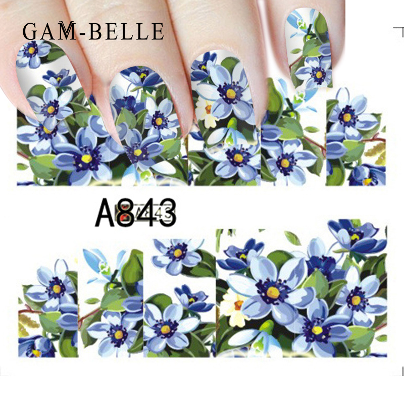 GAM-BELLE 1 Sheet Flower Leaves Nail Sticker Decals Blossom Water Transfer Nail Art Sticker Decorations Decals