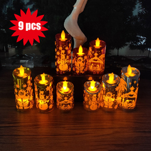 9 pcs/Set Artificial Small Candle Light Mixed Colors Sizes Led Storm Lantern for Christmas Decoration Carving Santa Claus