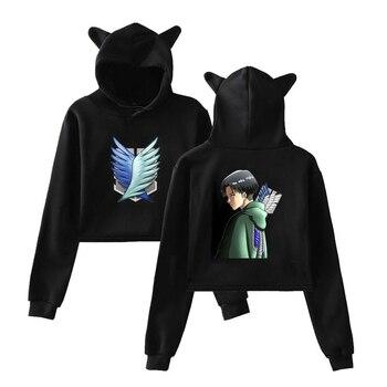 Women's Hoodie Harajuku Vintage Attack on Titan Print Anime Hoodie 90s Girls Gothic Cropped Streetwear Tops Women Sweatshirts 1