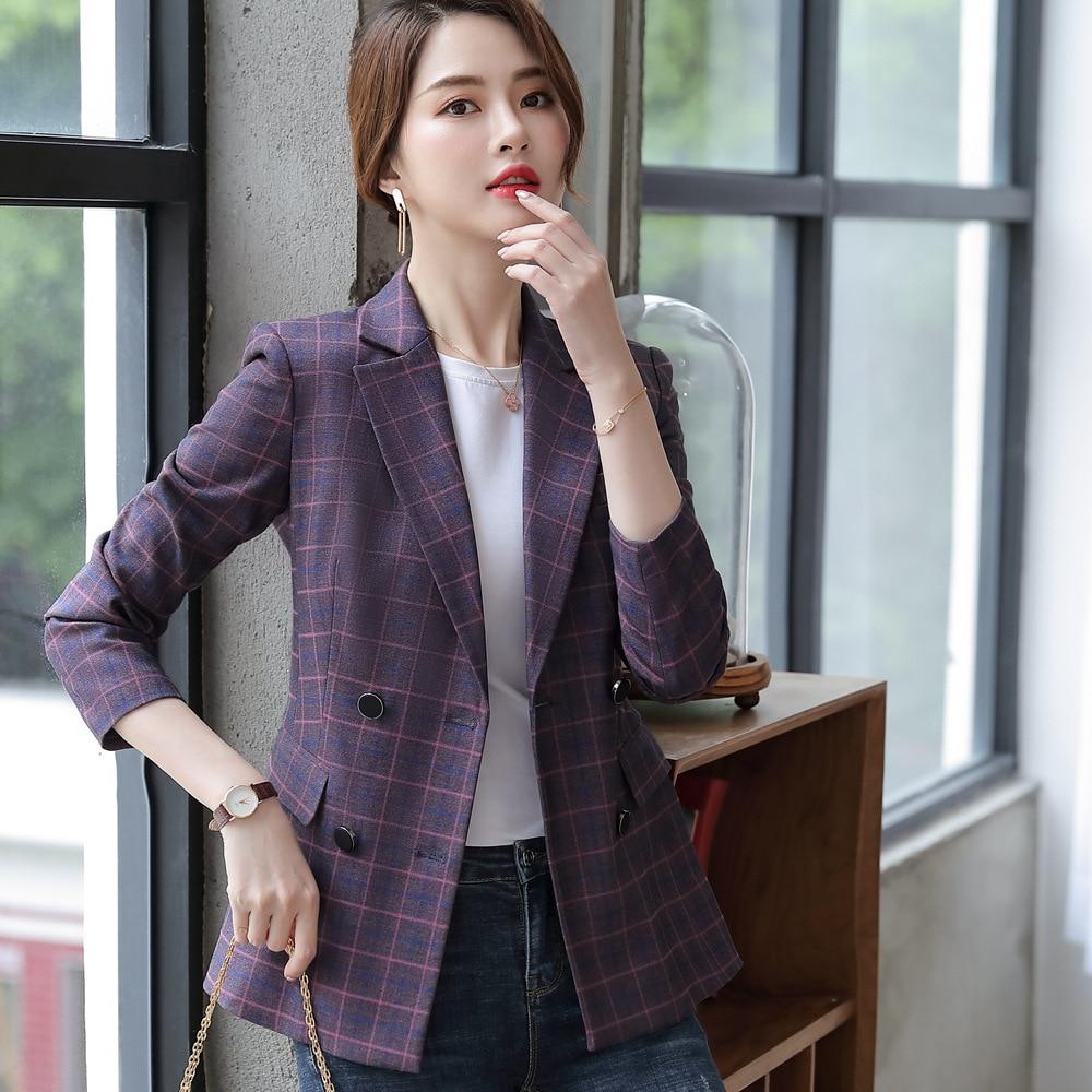 Plaid Jacket Women Blazers Female 2019  Suit Jacket New Autumn Office Lady Vintage Full Sleeve Blazers For Women Formal 80321