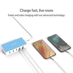 Image 4 - オリコ5ポートデスクトップusb充電器旅行充電アダプターのための急速充電スマートフォン4色インテリジェントな充電器の電源ソケット