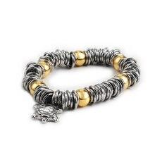 Для мужчин и женщин золотой браслет из бисера Серебряный цвет