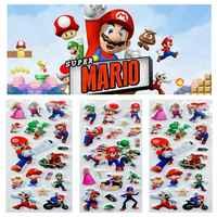 6 unids/lote pegatinas de dibujos animados de acción de Super Mario cifras lindo Mario hermanos pegatinas de Color de pintura de la pared de escritorio niño regalo juguete