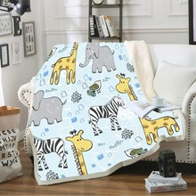 Giraffe Zebra Series Throw Blanket 3D Digital Cartoon Animal Print Plush Sherpa Fleece Blanket for Kids/Teens Room Decoration