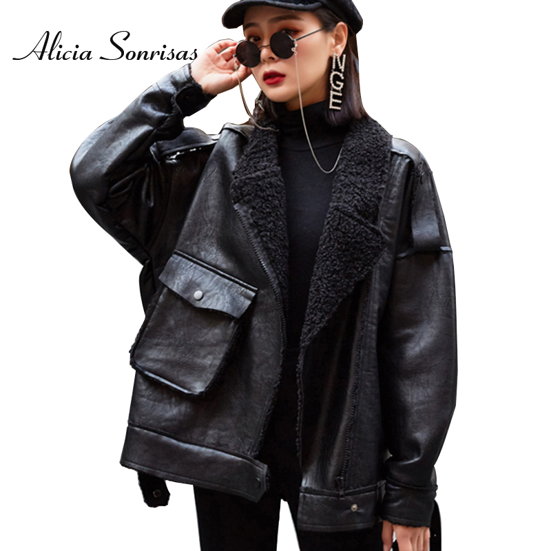 Winter Jacket Women New Short Lamb Fur Coat Loose Thick Motorcycle Biker Coat Matte Pu Leather Pocket Sheepskin Jacket 54654