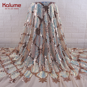 Kalume Latest African Lace Fabric Gold French Mesh Sequins Lace Fabric With Sequins Nigerian Lace Fabric For Wedding Dress F1890