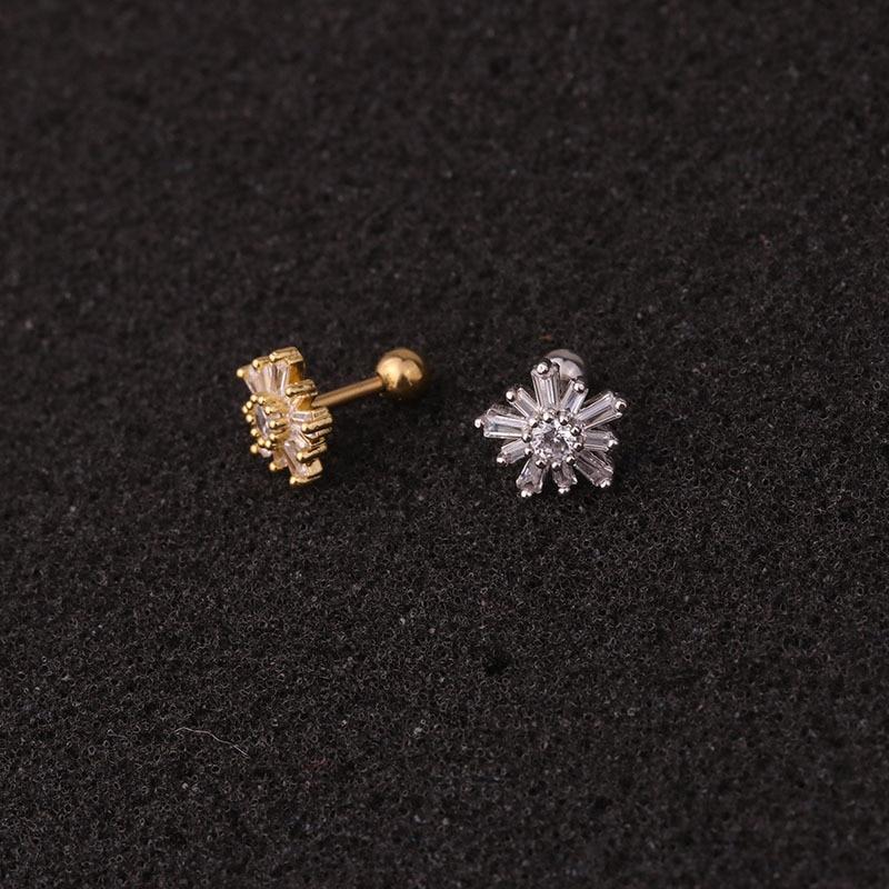 1 PCS Mix Kinds Trendy Small Flower Crown Heart Ear Studs Cuff Earrings Cute Silver Color CZ Helix Piercing Cartilage Earrings