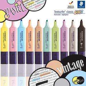 Image 1 - 8pcs 또는 9 개/대 STAEDTLER 형광펜 오블 리크 마커 펜 어린이 낙서 저널 마커 펜 참고 펜 학생 편지지