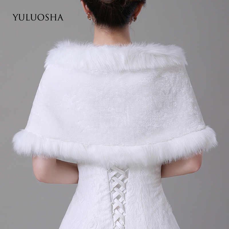 Yuluosha outono inverno nova noiva branca pele xale quente pelúcia dama de honra casamento fora do ombro casaco de casamento capa de penas robe
