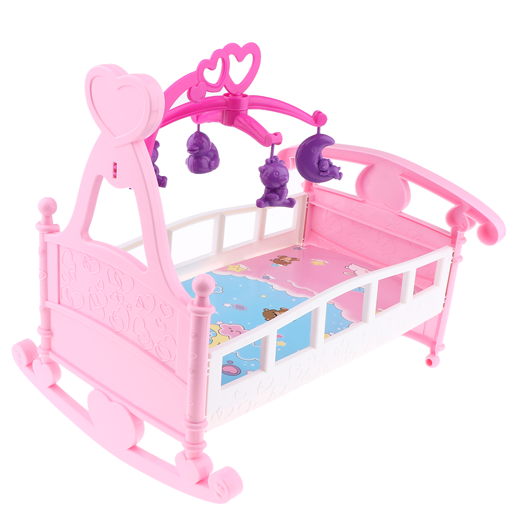 Colorful Simulation Mini Baby Doll Bed Cribs Rocking Cradle Model For Mellchan Baby Dolls House Furniture Accessory Assembly