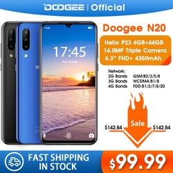 DOOGEE N20 Cellulare Impronte Digitali 6.3 pollici FHD + Display 16MP Tripla Fotocamera Posteriore 64GB 4GB MT6763 Octa Core 4350mAh Cellulare LTE