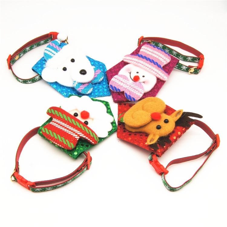 Christmas Series Handmade Bowtie Pet Collar Dog Traction Pet Supplies
