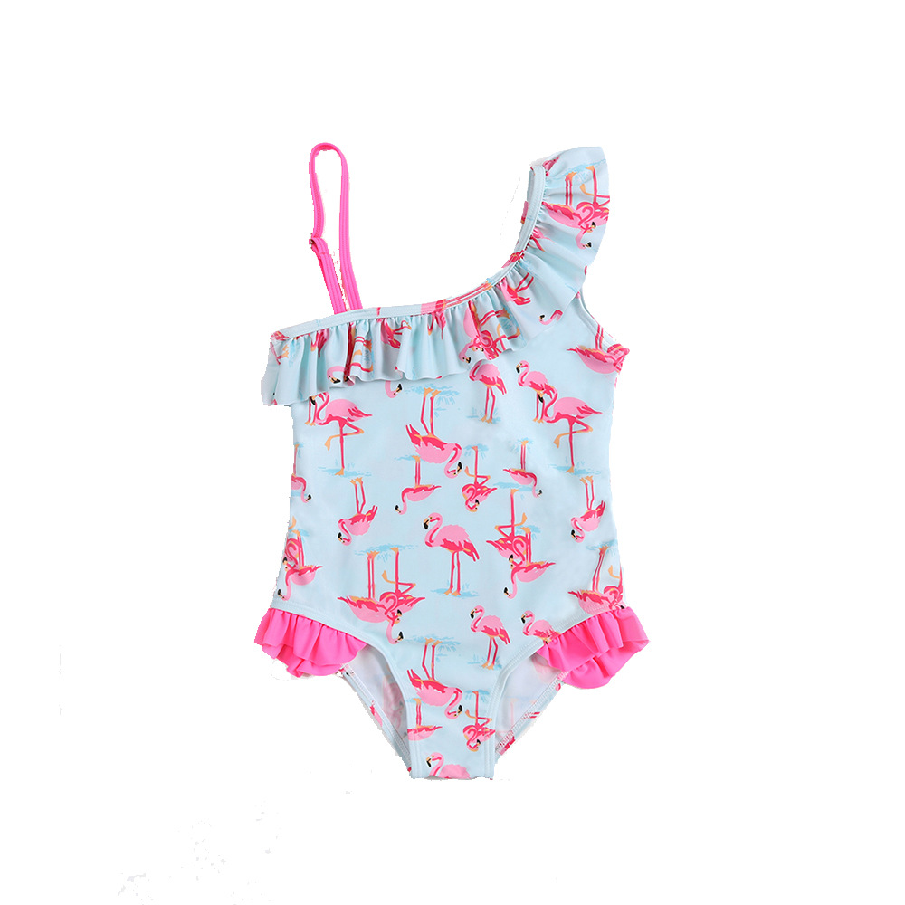 2019 New Style Foreign Trade Children Shoulder Flounced Flamingo Printed Bathing Suit One-piece Europe And America GIRL'S Tour B