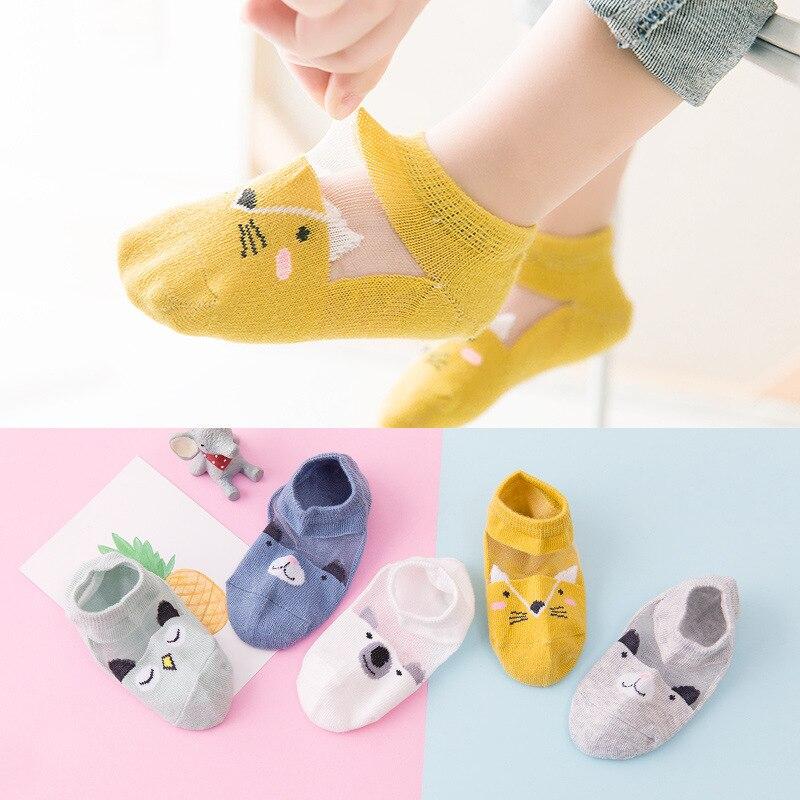 [Summer Thin Glass] Summer Thin Cotton CHILDREN'S Socks Boat Cotton No-show Socks Men And Women Baby Socks Fishnet Stockings