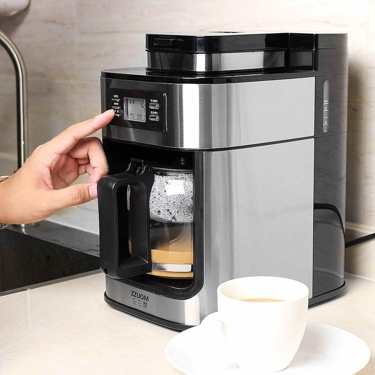 1000W Electric Coffee Maker Machine Fully-Automatic Drip Coffee Maker Tea Coffee Pot Barista Home Kitchen Appliance 1200ml 220V