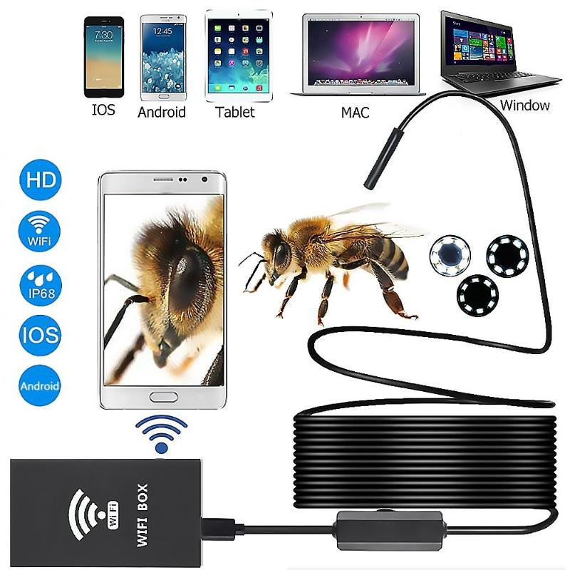 WiFi Endoscope 1600*1200P HD 8 LED 8mm Lens Industrial IP68 Waterproof Borescope Underwater Cameras Endoscope for iOS/Android|Surveillance Cameras| |  - title=
