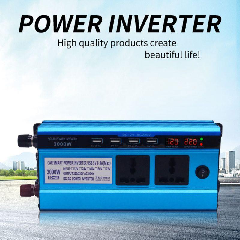 Falownik solarny DC 12/24V do AC 220V 500/3000/4000/5000W 4 porty USB 2/3 gniazda